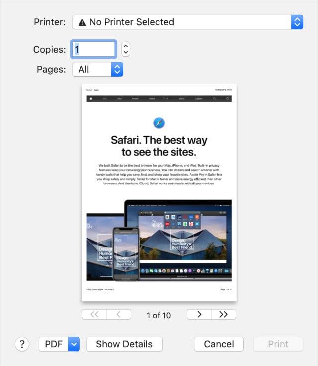 Print menu from Safari website on a Mac