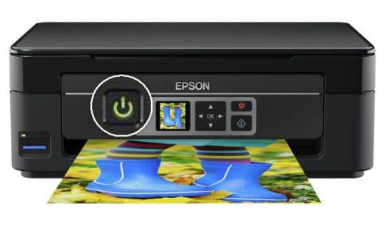 Printer power button highlighted