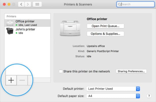 Printers & Scanners System Preferences add and minus buttons