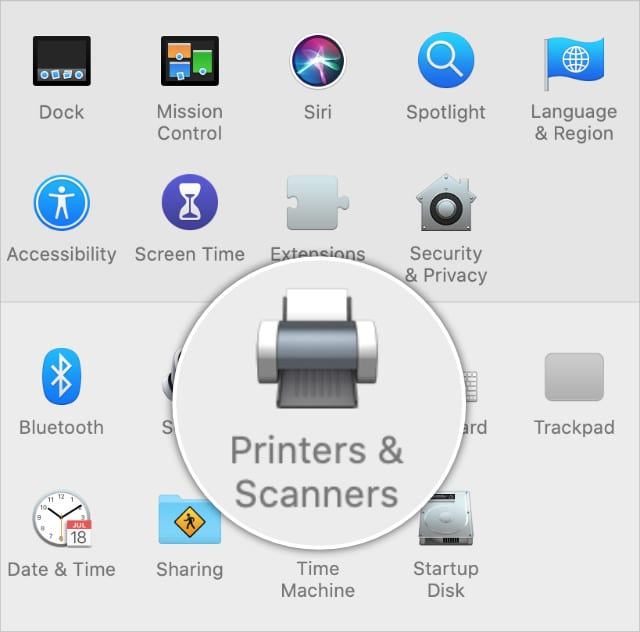 Printers & Scanners in System Preferences