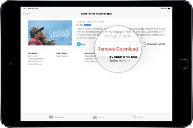 Remove Download button in Apple TV app on iPad mini