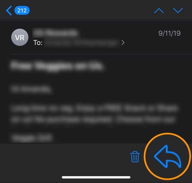reply button in Mail app iOS 13 and iPadOS