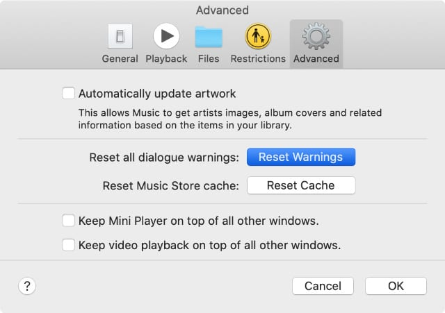 Reset Warnings option in iTunes or Apple Music Advanced Preferences