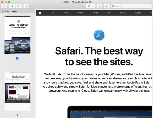 Safari website exported to PReview
