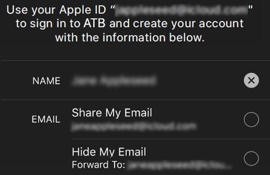 iOS 13 and iPadOS Share or Hide email when using Sign in with Apple