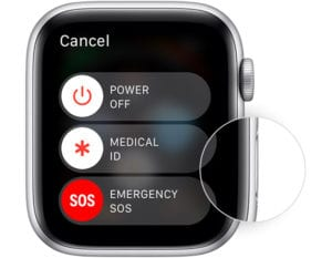 Side button on Apple Watch to power off