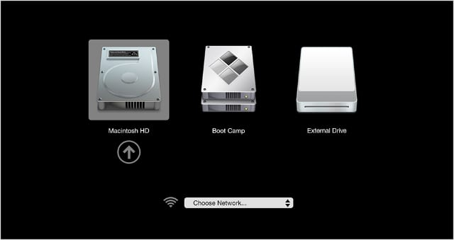 Startup disk selection with External Drive option