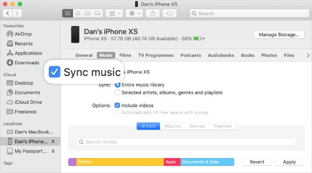 Sync Music checkbox in Finder iPhone sync page