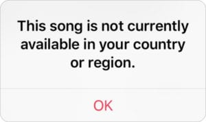 This song is not available in your country or region error message