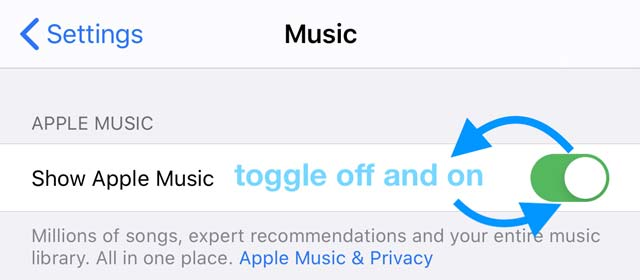 toggle show apple music off and on