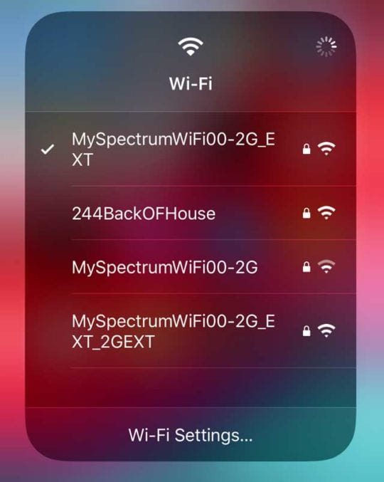 quick action menu for WiFi in Control Center iOS 13