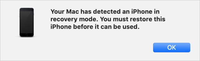 Your Mac has detcted an iPhone in Recovery Mode pop-up alert