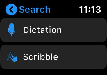 search on apple watch with scribble or dictate
