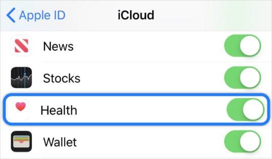 iCloud Health sync option