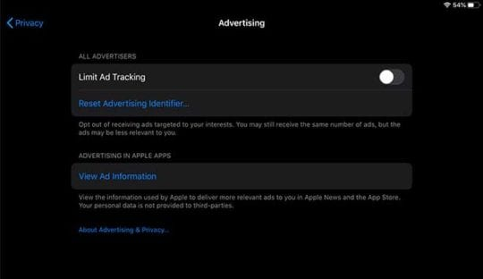 iOS 13 Settings - Ad Tracking