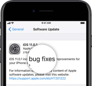iOS Software Update listing bug fixes in the notes