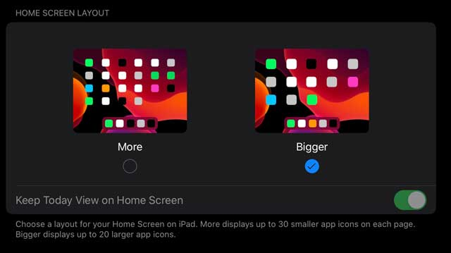 iPadOS home screen layout options with Bigger selected