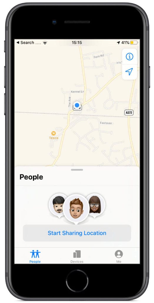 iPhone 8 using Find My app with People Start Sharing button