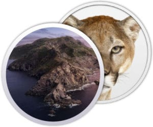 macOS Catalina and OS X Mountain Lion logos