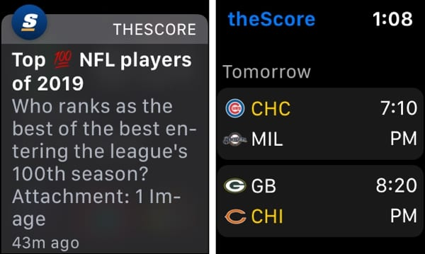 theScore on Apple Watch