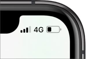 45 Cell Service in iPhone X Status Bar