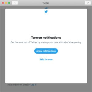 Allow Notifications window in Twitter for Mac