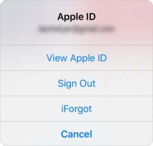 Apple ID Sign Out button in iTUnes Store app