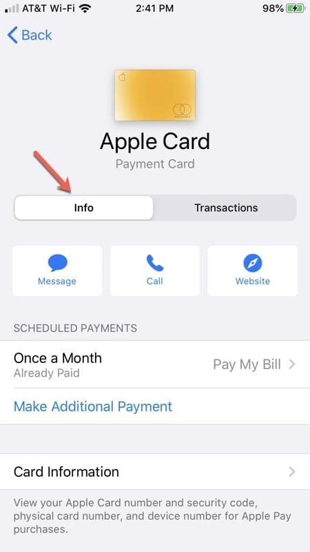 Apple Card in the Settings