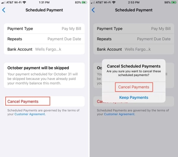 Cancel Apple Card payments