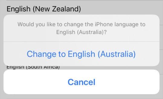 Change language to English (Australia) iPhone option