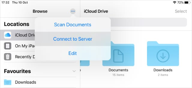 Connect to Server option in Files for iPadOS and iOS 13