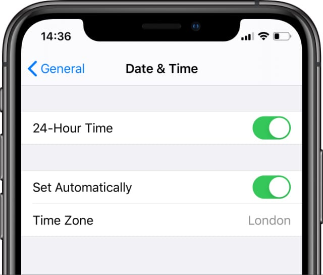 Date & Time Settings on iPhone