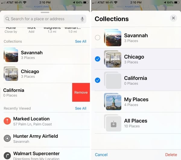 Delete a Collection in Maps