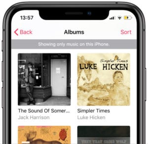 Downloaded music gray bar in iPhone Music app