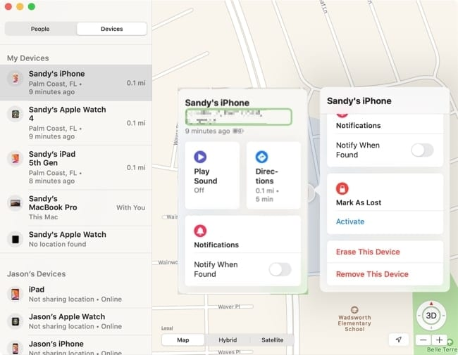 Device options in Find My
