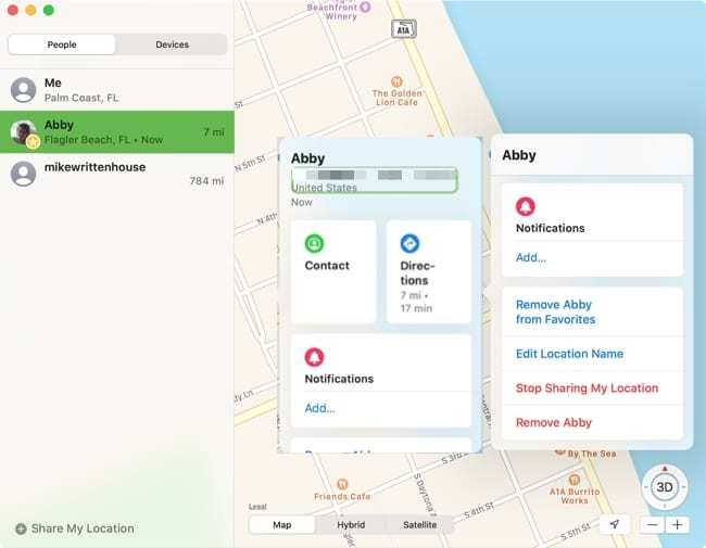 People options in Find My