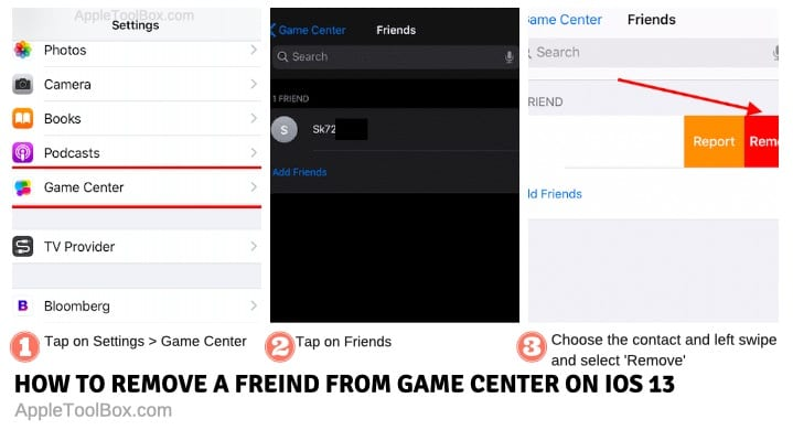 Remove friends in Game center on iOS 13 and iPadOS