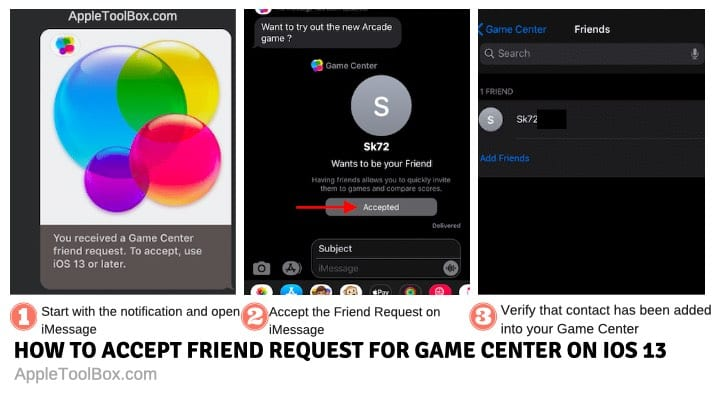 Accept friend requests for Game center in iOS 13 and iPadOS