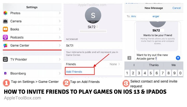 Invite friends to Apple Arcade using Game center on iOS 13 and iPadOS