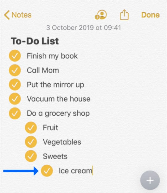 Indented checklist in Notes iOS 13