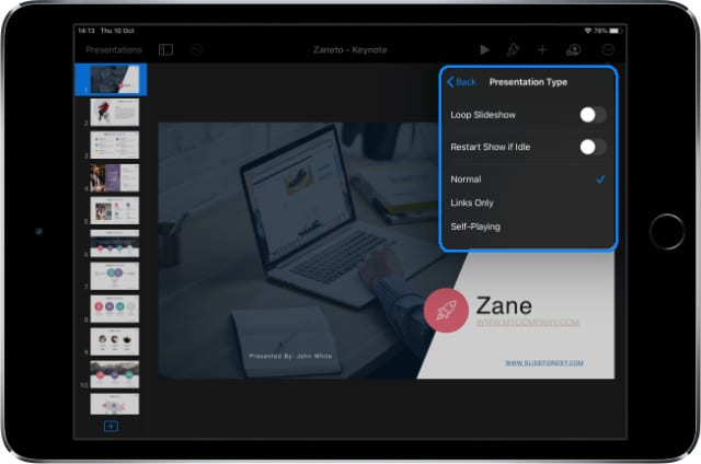 Keynote Self-Playing Settings on iPadOS