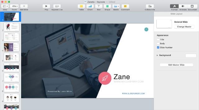 Keynote presentation in edit mode