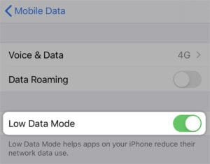 Low Data Mode in iOS 13