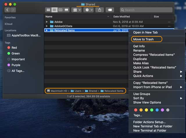 relocated items folder inside Shared user folder macOS