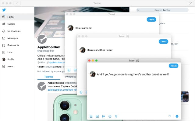 Multiple tweet compositions in Twitter for Mac