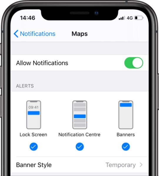Notifications for Maps in iOS Settings