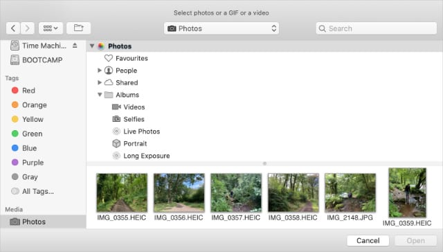 Photo upload window in Twitter for Mac showing HEIC files