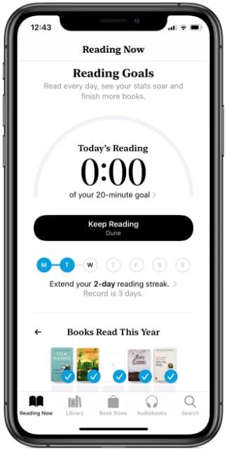 Reading Goals feature in Apple Books iOS 13