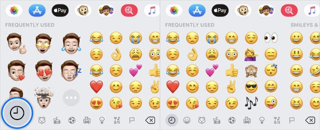 Recently Used button removes Memoji Stickers