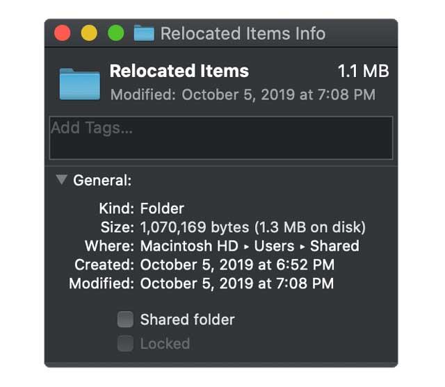 relocated folder size on shared user folder